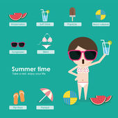 Summer time-2 — Vector de stock