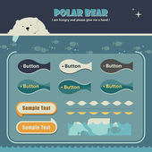 Polar bear webpage template — Vector de stock