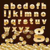 Moeda e o alfabeto em letras minúsculas dourado — Vetor de Stock