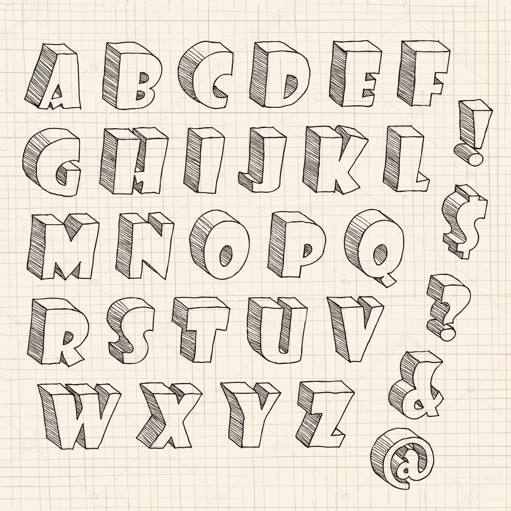 Объемные буквы рисунки карандашом