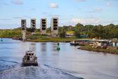 Boat at panama canal — Stockfoto