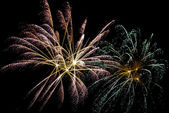Nocturnal celebration with fireworks — Stock Photo
