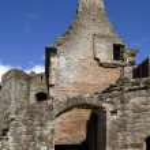 Moated Caerlaverock Castle, Scotland, — Stock Photo
