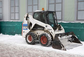 Snowplow is ready to prepare to clean the road. — Foto Stock