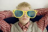 Portrait of young man in big glasses — ストック写真
