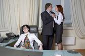 Business team over modern office background. Clerk  affair — Stock Photo