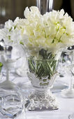 Bouquet of white flower in vase of glass — Stock Photo