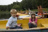 Children in booat — Stock Photo