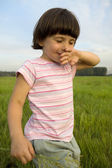 Little cute pensive girl five years old standing — Stock Photo