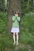 Girl close her eyes — Stock Photo