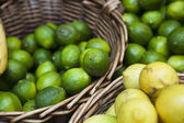 Basket of lemons and limes — Stock Photo