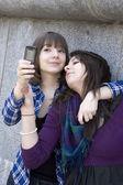 Two girls making selfie — Stock Photo