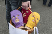 """Basket with three heads in a balaclava and envelope """"inquisitorial tribunal — Stock Photo"""