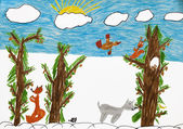 Child bright drawing. Animal in forest — Stock Photo