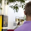 Waiters served champagne glasses on a tray. — Stock Photo #45380565