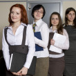 Secretaries standing in line for report — Stock Photo #45383579