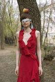 Blindfolded woman eyes. Tied eyes - censorship concept — Stock Photo