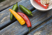 Yellow, green, red traffic light chili pepper — Stock Photo