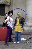 Street entertainer in Covent Garden Market — Stock Photo