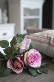 Handmade fake pink rose flower — Stock Photo
