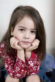 Serious cute little girl five years old — Stock Photo