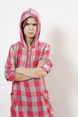 Agressive little hoodie girl — Stock Photo
