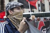Anarchists take part in a rally — Stock Photo