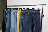 Jeans on a hanger — Stock Photo