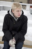 Blond man in winter — Stock Photo