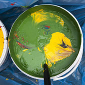 Paint buckets with colors — Stock Photo