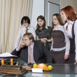 Group of 5 business people working together in the office. — Stock Photo #45391781