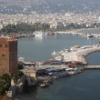 Red brick tower in Alanya — Stock Photo
