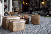 Shop with woven basket — Stock Photo