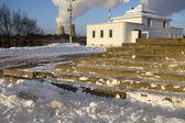 The smoke from chimney — Stockfoto