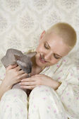 Young attractive bald blond woman — Stock Photo