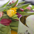 Tulips lying near vintage box — Stock Photo #46200325