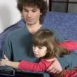 Father and daughter playing game using laptop — Stock Photo #46201341