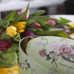 Tulips lying near vintage box — Stock Photo #46202211