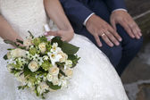 Beauty wedding bouquet in a bride hands. — Stock Photo