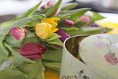 Tulips lying near vintage box — Stok fotoğraf