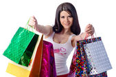 Young Women, card, White Background, Shopping Bag — Stock Photo