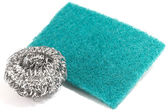 Scrub sponge and silver potsponge for cleaning  — Foto de Stock
