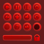 Mobile red vector elements For Ui Game - a set of play, pause, s — Stock Vector