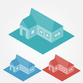 Vector simple isometric abstract houses — Stock Vector