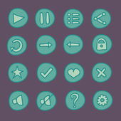 Flat game Ui buttons set in doodle style — Stock Vector
