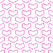 Abstract vector love seamless pattern - pink heart shapes made b — Stock vektor
