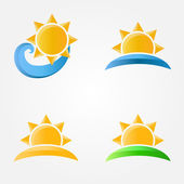 Bright vector sun icons with sea, sand and grass — Stock Vector