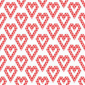 Heart shapes made by triangles seamless pattern - red vector bac — Vettoriale Stock
