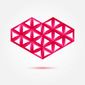 Red heart shape made by triangles - love vector symbol — Vecteur