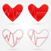 Set of hearts beats graph vector icons — Stock Vector